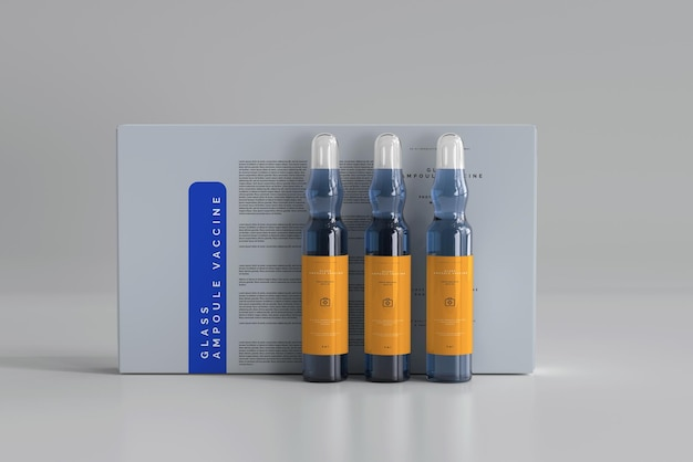 Glass ampoule with box mockup