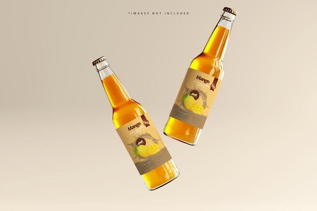 Мокап стеклянных бутылок для напитков
