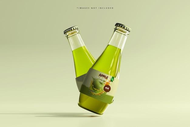 Mockup di bottiglie di bevande in vetro
