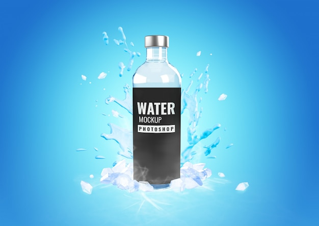 Glass bottle cool water splash mockup advertising