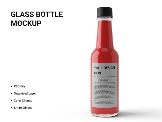 Glass bottle mockup design isolated