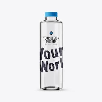 Glass bottle mockup isolated on white background