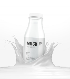 Рекламный макет брызг стеклянной бутылки