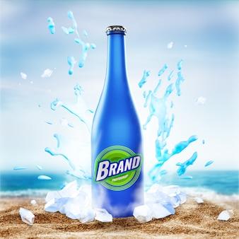 Glass bottle splash sea mockup