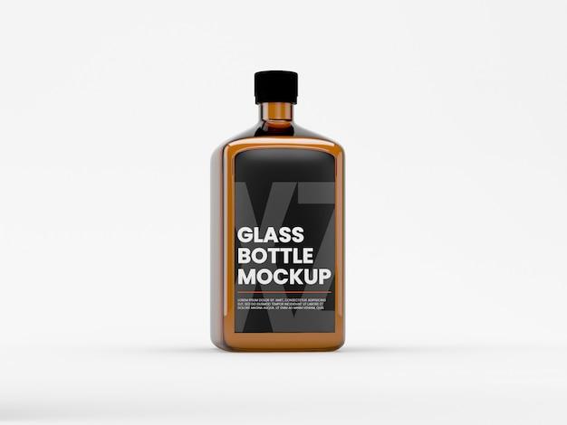 투명한 액체 모형이있는 유리 병