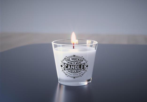 Стеклянная свеча мокап