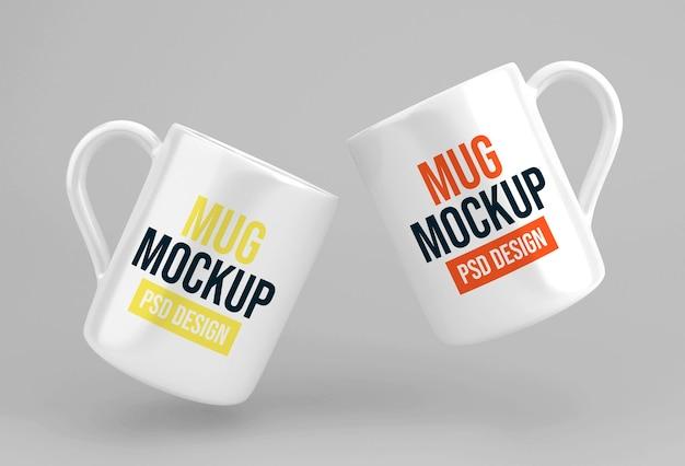 유리 커피 또는 차 머그잔 모형 디자인