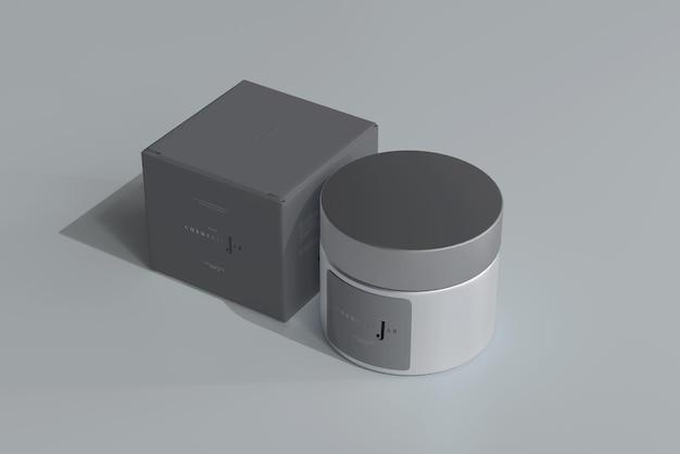 유리 화장품 항아리 및 상자 모형