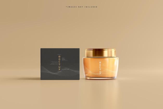 Glass cosmetic jar and box mockup