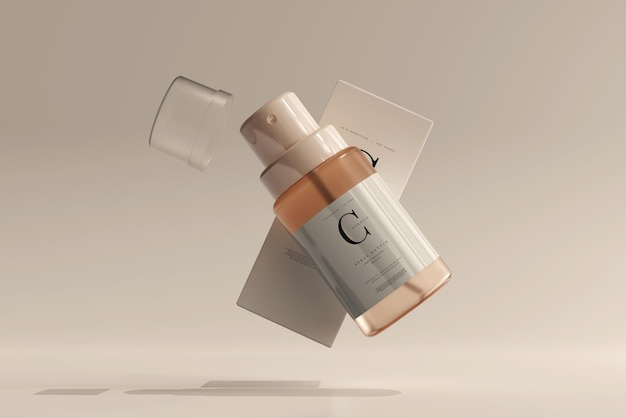Glass cosmetic spray bottle with box mockup