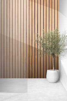 木製の羽目板の壁が付いているガラス入口psd