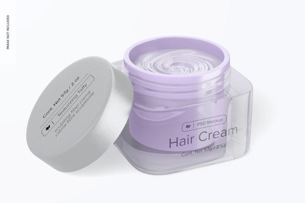Glass hair cream jar mockup, opened