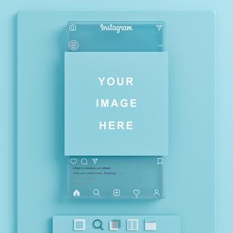 소셜 미디어 피드 프레젠테이션 청록색 배경 3d 렌더링을 위한 유리 instagram 모형
