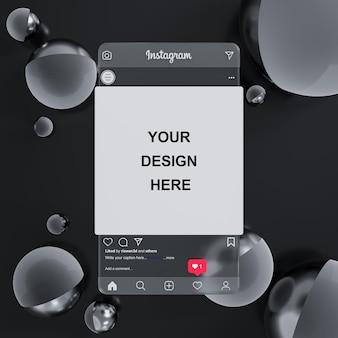 Стеклянный макет социальных сетей instagram на черном абстрактном фоне для презентации фида 3d рендеринга