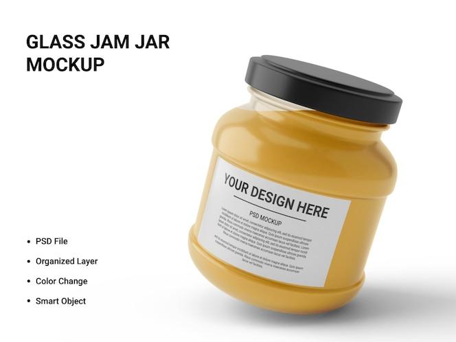 glass jam jar mockup design