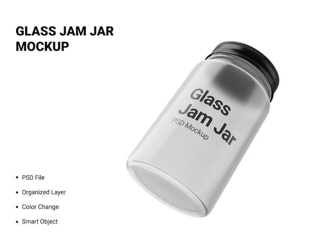 glass jam jar mockup