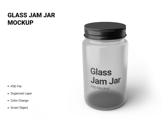 Glass jam jar mockup