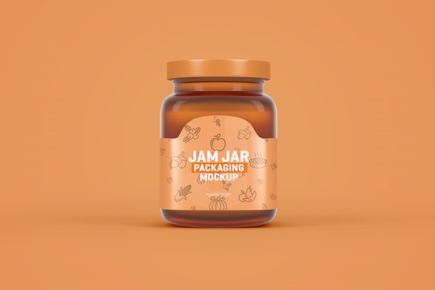 Glass jam jar packaging mockup