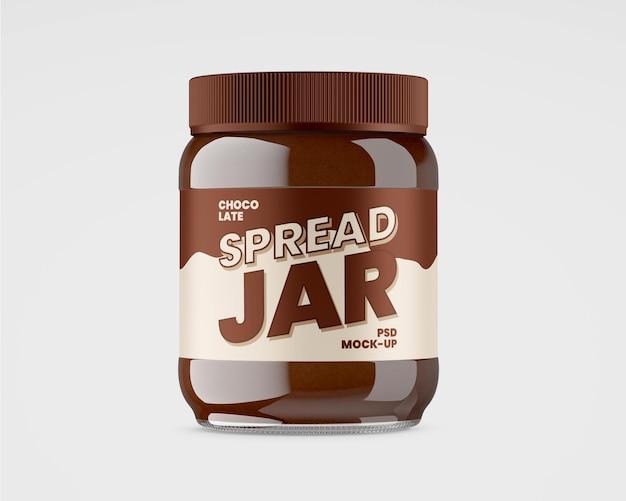 Glass jar with chocolate spread mockup