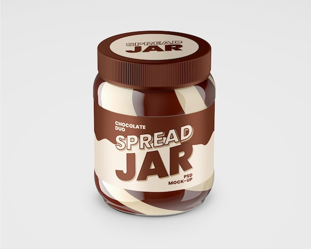 듀오 초콜릿 스프레드 모형이있는 유리 병
