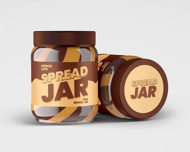 듀오 초콜릿 스프레드가있는 유리 용기