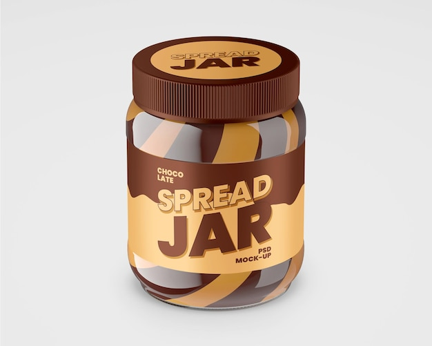 Glass jar with duo chocolate spread
