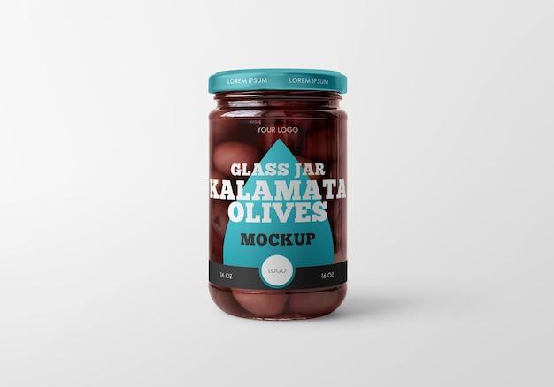 Glass jar with kalamata olives mockup design