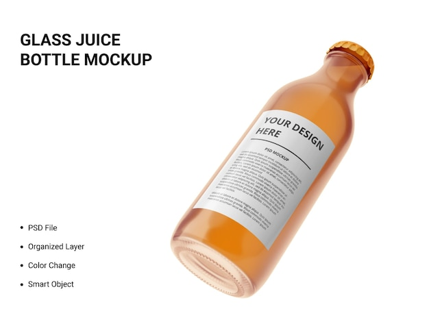 Glass juice bottle mockup