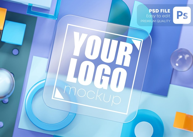 Glass logo mockup geometry shapes abstract composition art blue 3d rendering