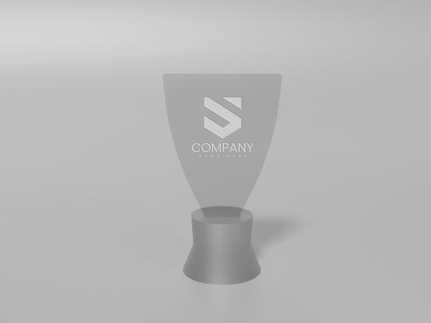 灰色の背景を持つガラスのロゴのモックアップ