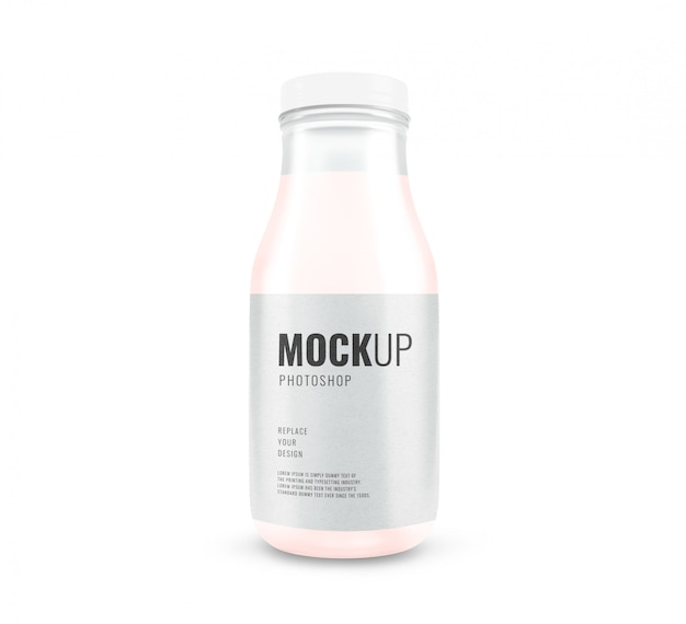 Glass milk bottle minimal mockup