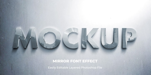 Glass mirror 3d text effect template