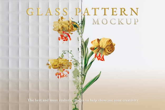 Glass mockup psd with flower
