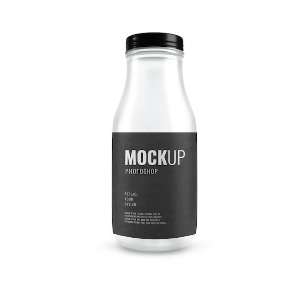 Glass modern bottle mockup realistic