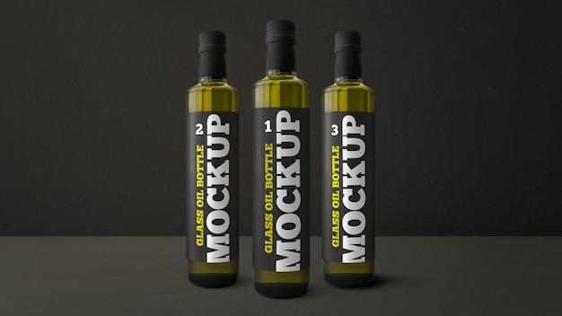 Glass oil bottle mockup