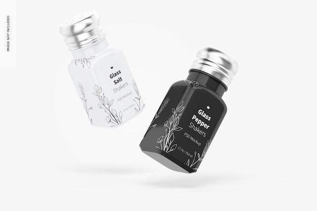 Glass salt and pepper shakers mockup, floating