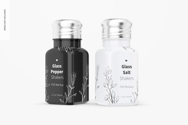Glass salt and pepper shakers mockup, front view
