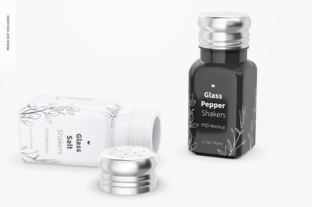 Glass salt and pepper shakers mockup, standing and dropped