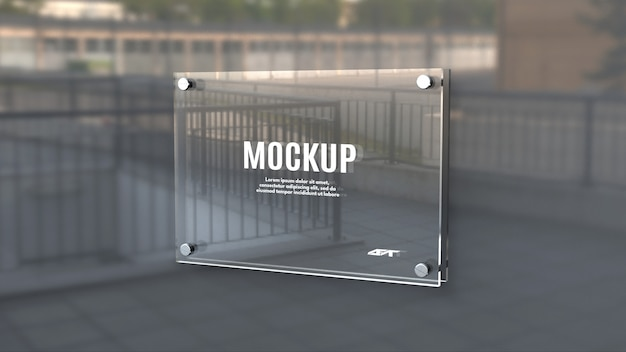 Glass signage board mockup
