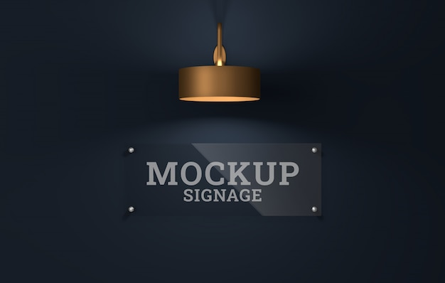 Glass signage logo mockup. template psd.