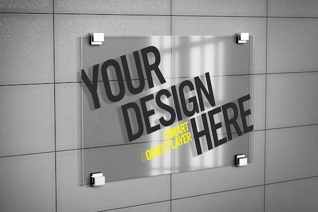 Glass signboard mockup