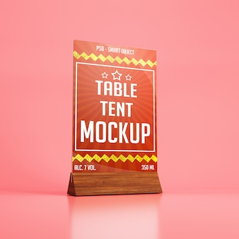 Glass table tent with wooden holder mockup