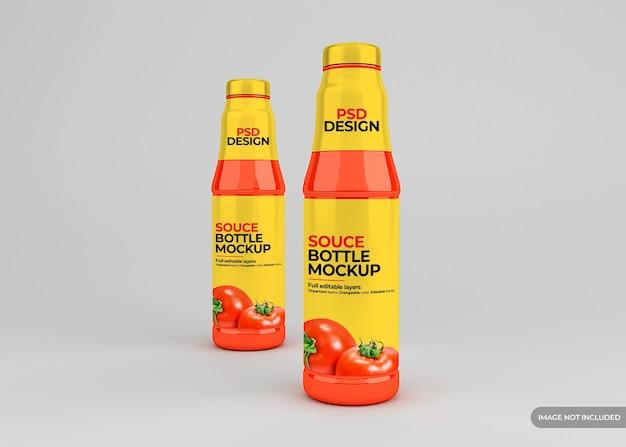 Стеклянный макет этикетки бутылки томатного соуса