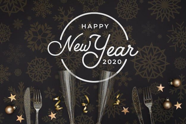 Glasses for champagne and cutlery for new year party