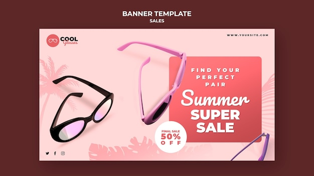 Glasses sales banner template