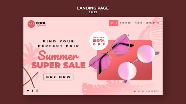 Glasses sales landing page template