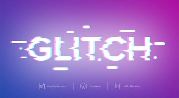 Glitch text effect design template style effect