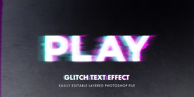 Glitch text style effect mockup template