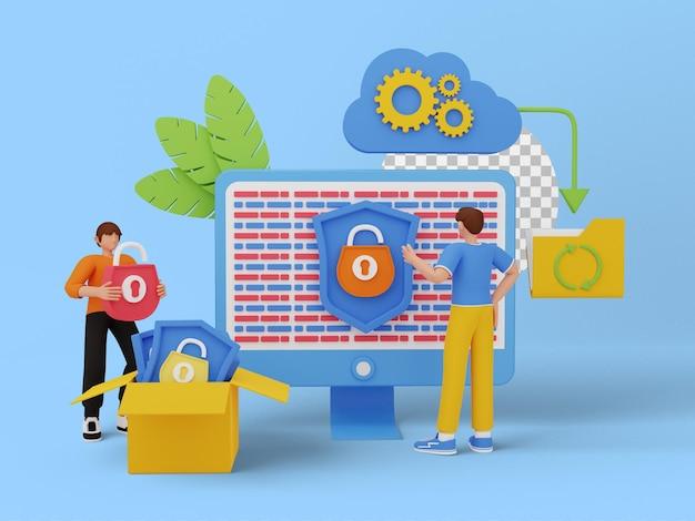 글로벌 데이터 보안, 개인 데이터 보안, 3d 일러스트
