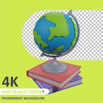Глобус на книге 3d-рендеринг моделирования персонажей